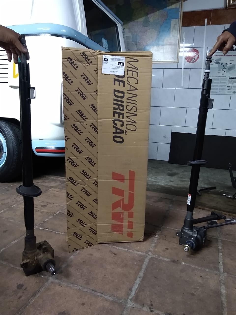 Caixa antiga e a caixa nova de direção